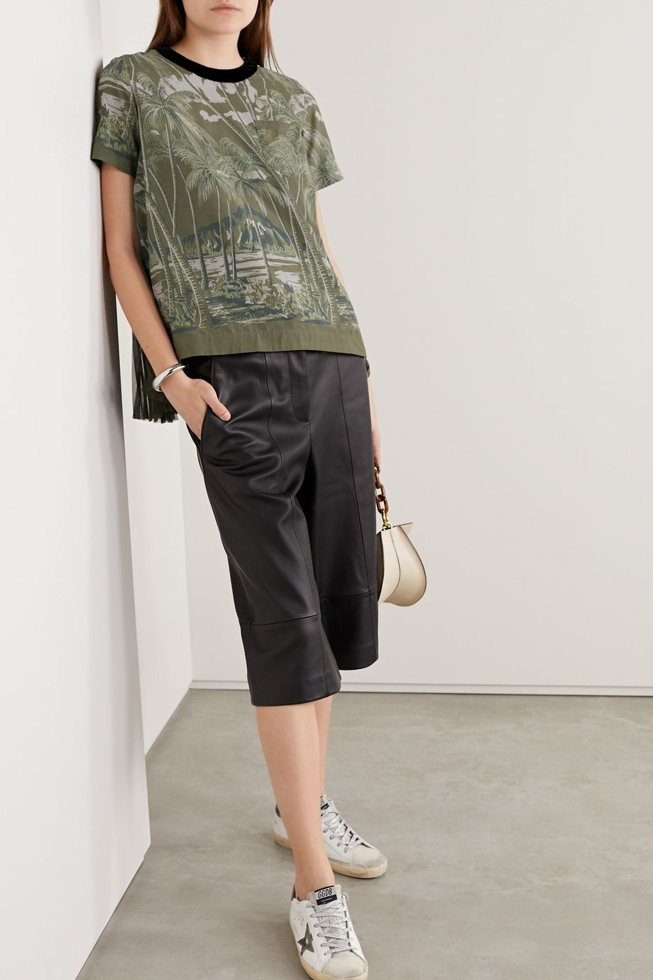 Sacai Velvet-trimmed pleated printed voile and chiffon top