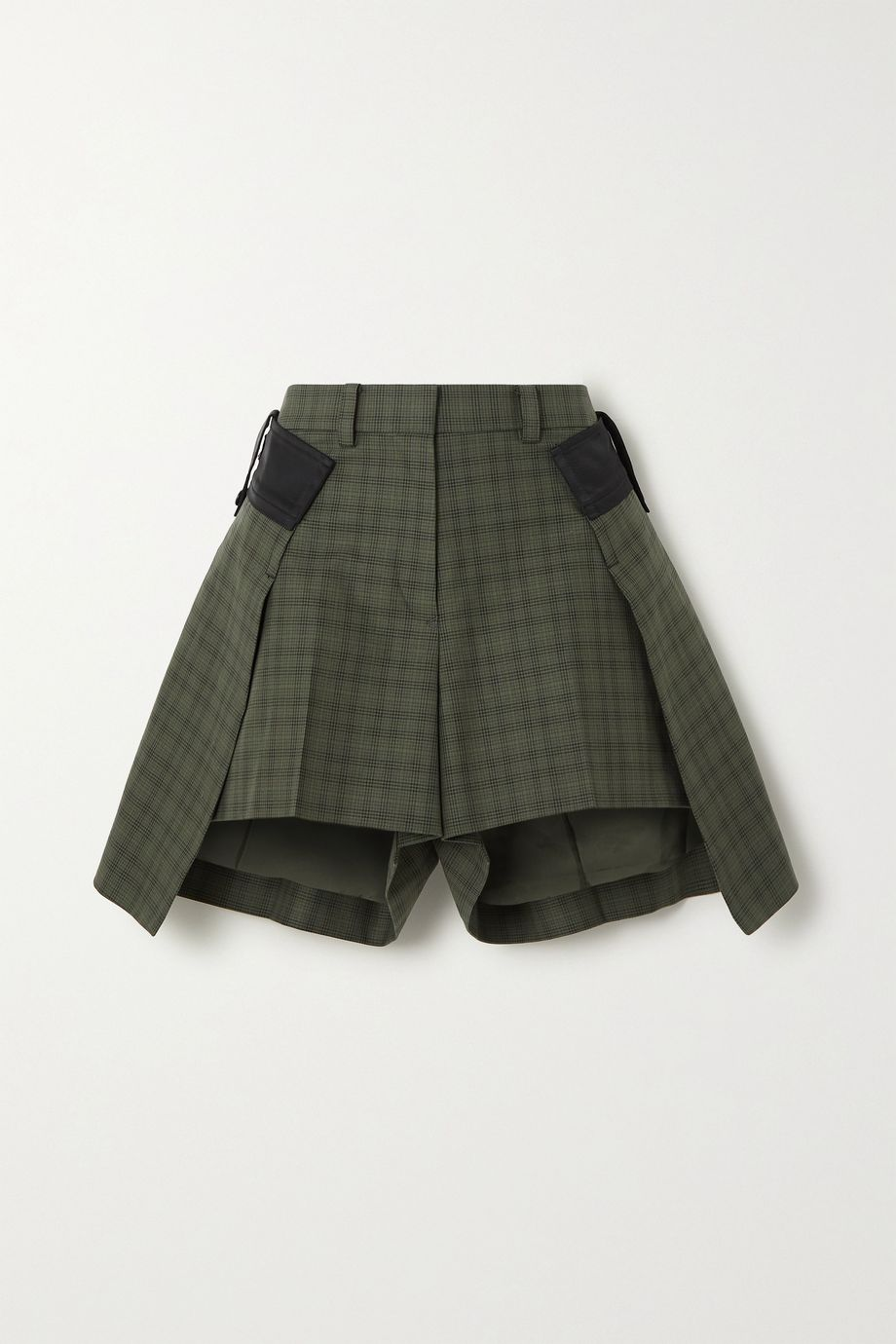 Sacai Layered checked cotton shorts