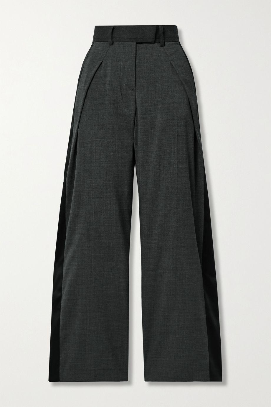 Sacai Grain de poudre and satin wide-leg pants