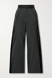 Grain de poudre and satin wide-leg pants