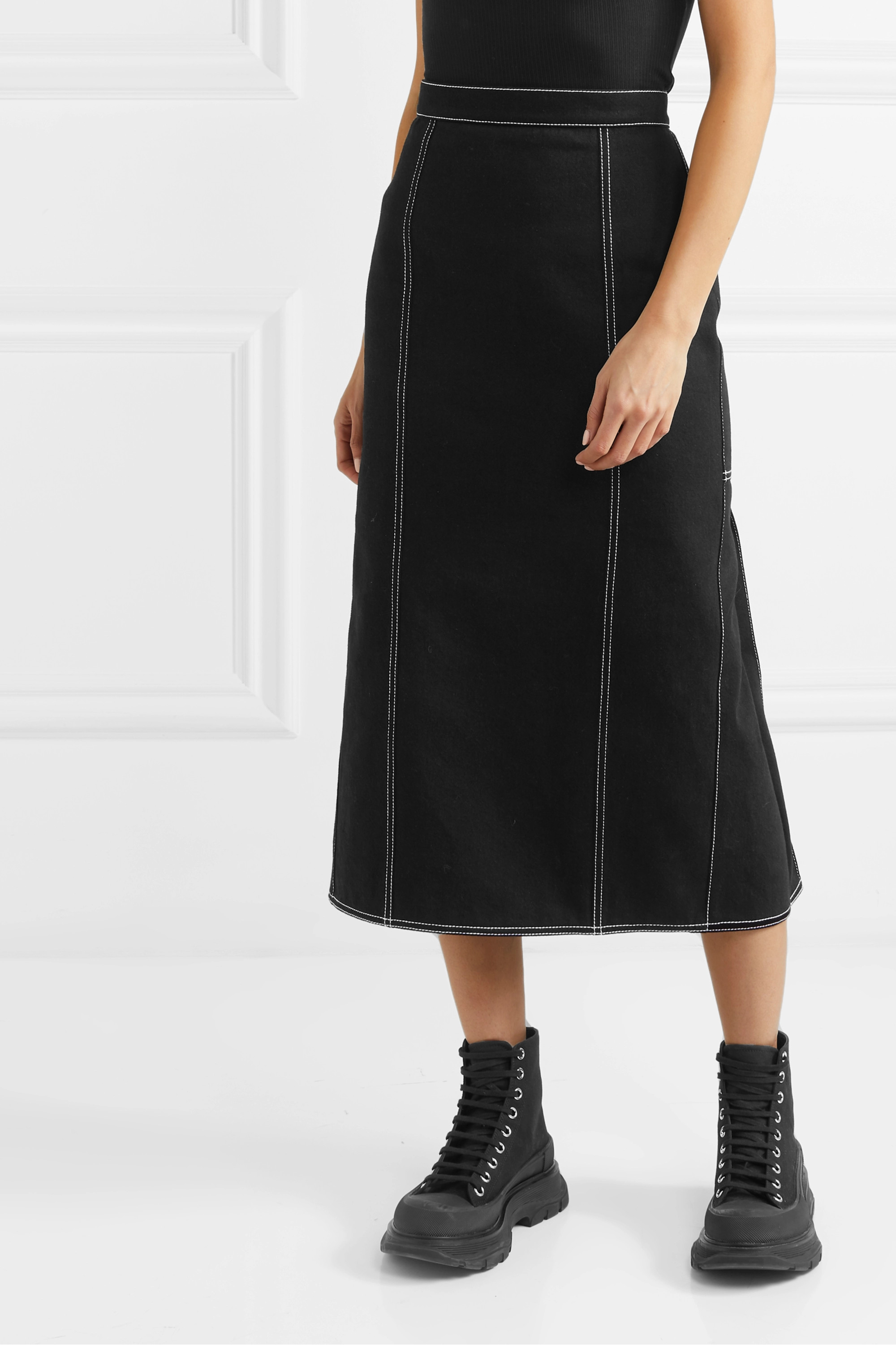 Alexander McQueen Pleated denim midi skirt