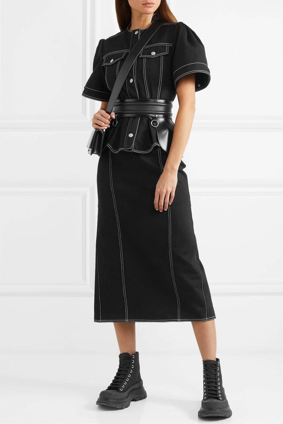 Alexander McQueen 褶裥牛仔中长半身裙