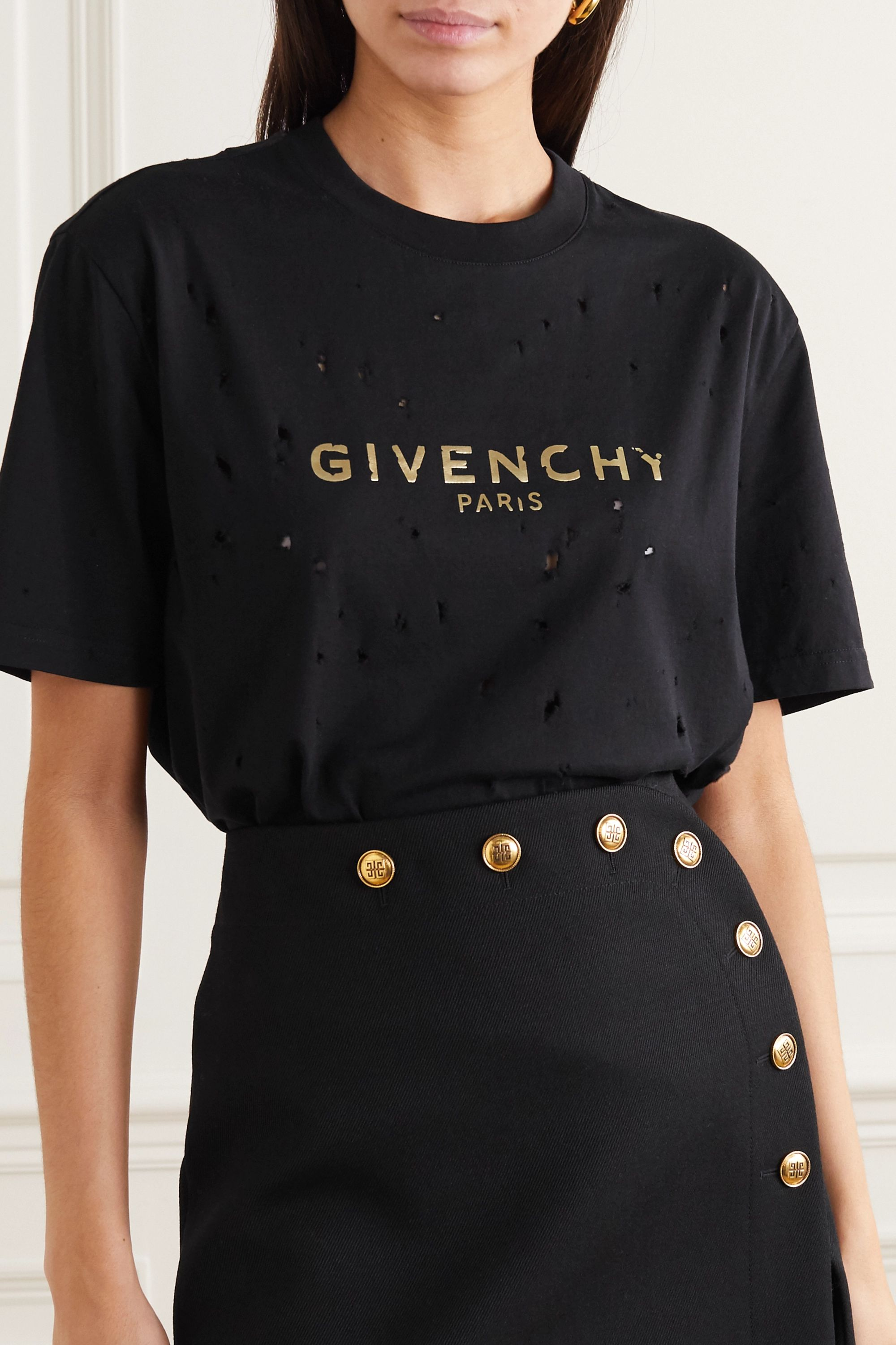 Givenchy Distressed metallic printed cotton-jersey T-shirt