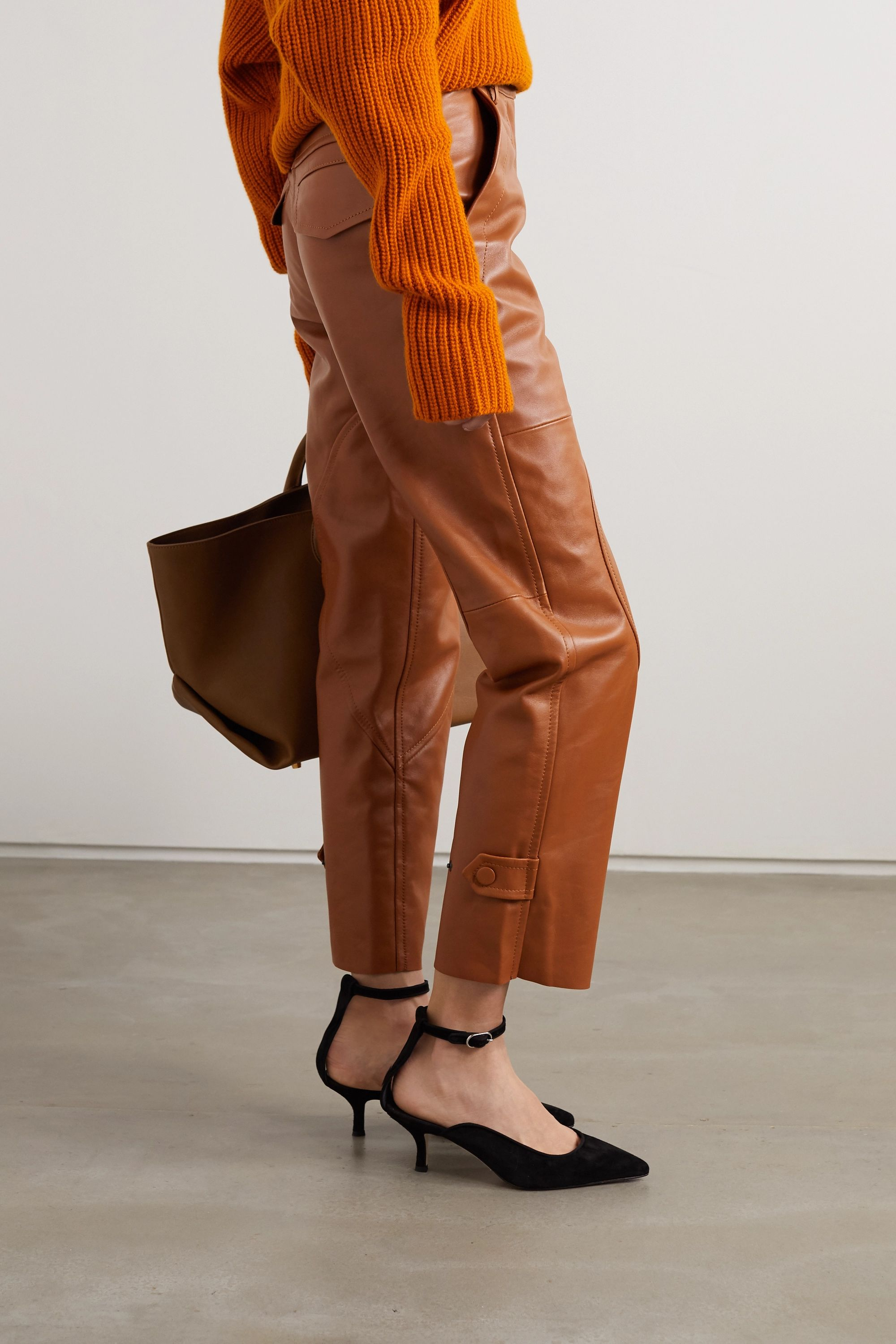 Petar Petrov Hunter paneled leather straight-leg pants