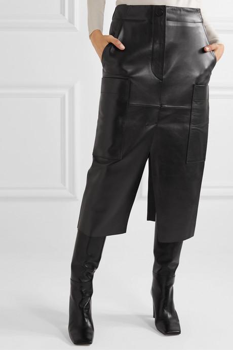 Ria leather midi skirt