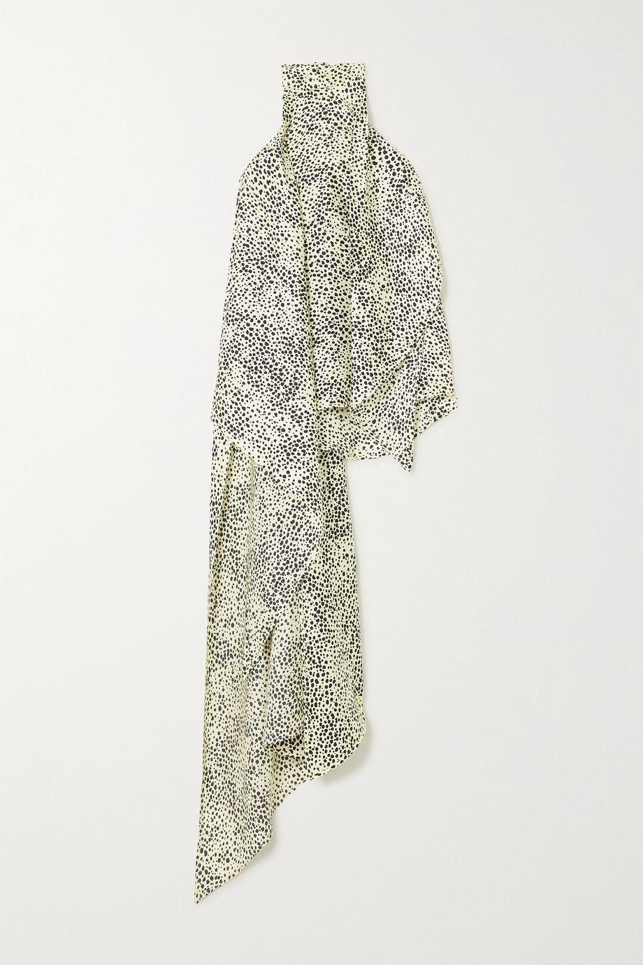 Petar Petrov Cameron asymmetric printed silk-twill halterneck top
