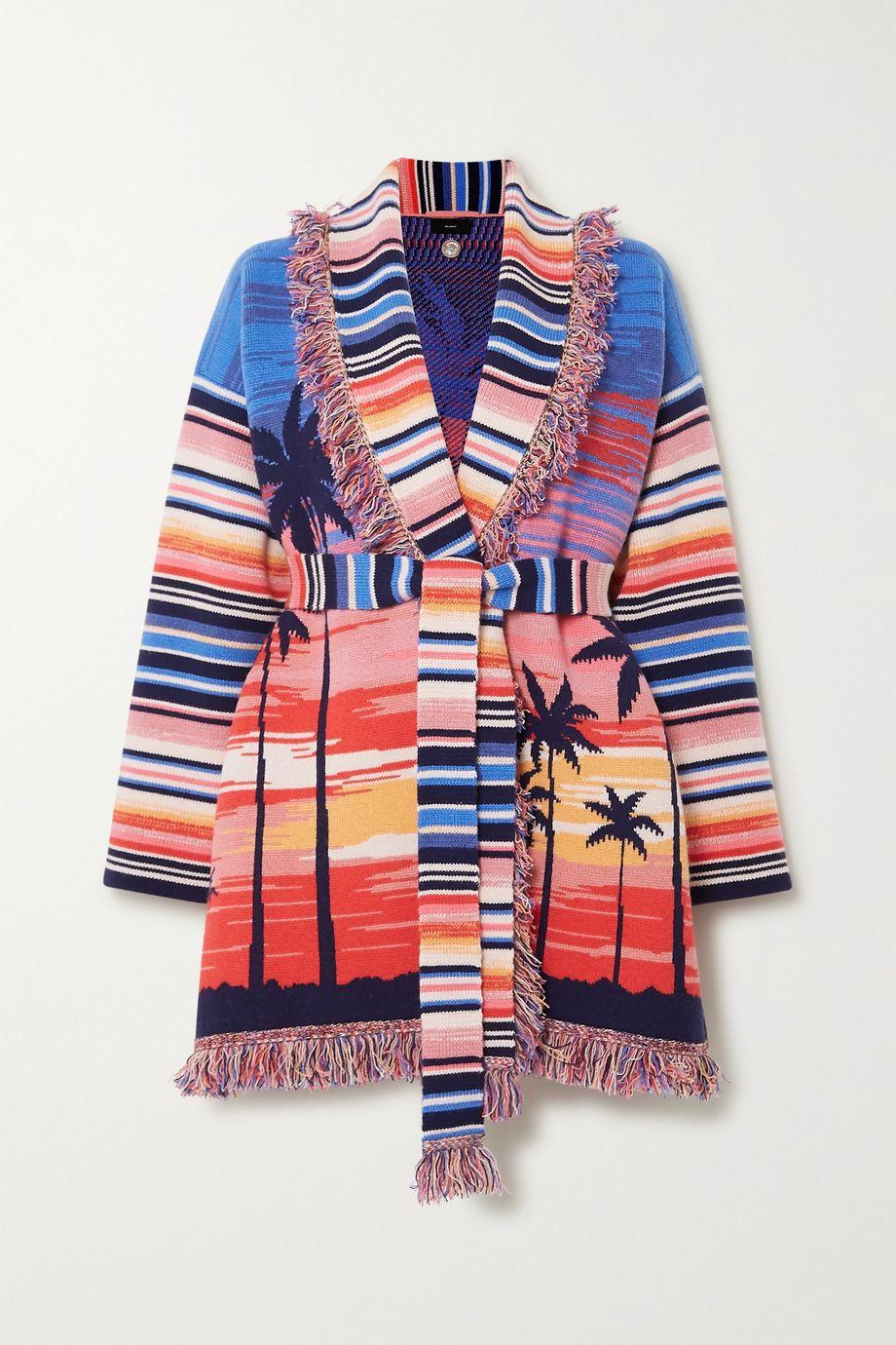 Alanui Malibu Sunset belted fringed cashmere-blend jacquard cardigan