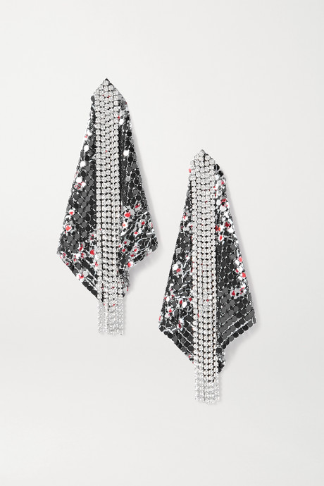 Black Fold chainmail and crystal earrings | Paco Rabanne laY2NC