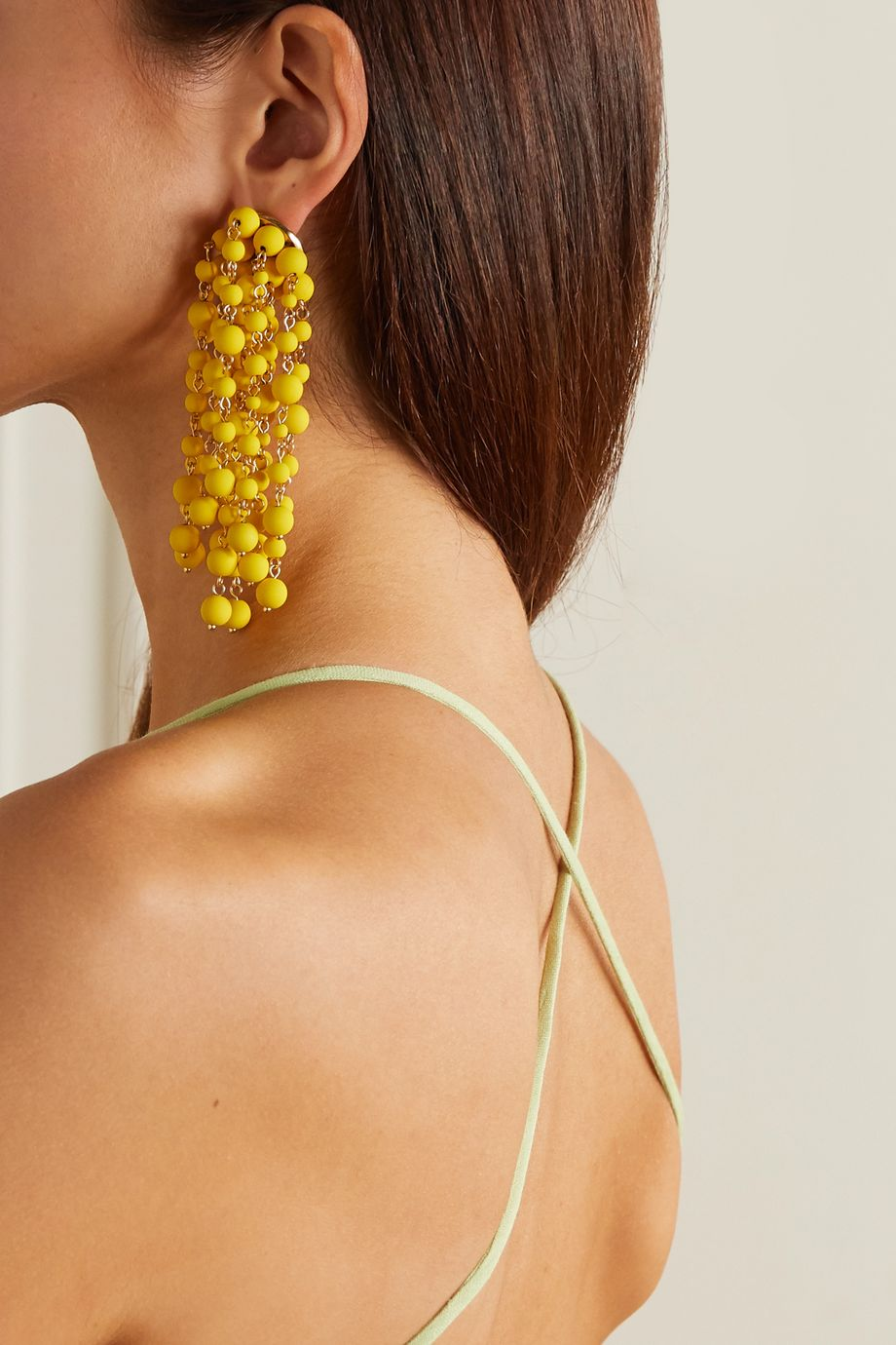 Jacquemus Les Mimosas beaded gold-tone earrings