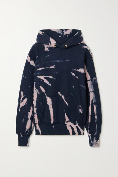 Les Tien Tie-dyed Cotton-jersey Hoodie In Navy