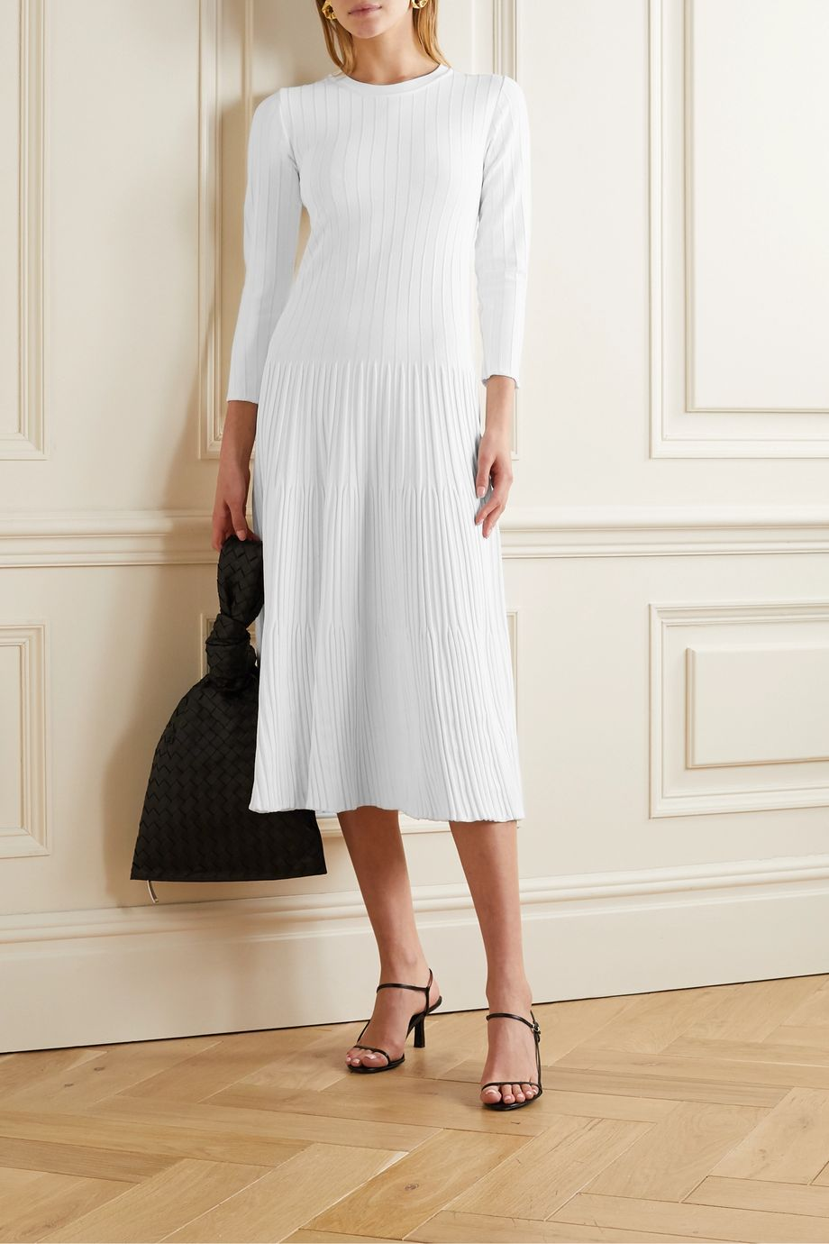 CASASOLA Ribbed-knit midi dress