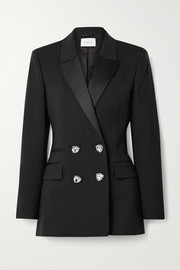 Felix crystal-embellished double-breasted satin-trimmed wool blazer