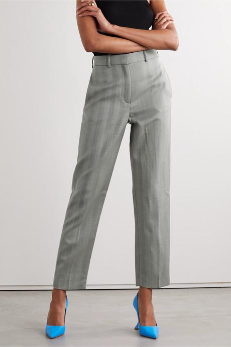 Herringbone wool tapered pants