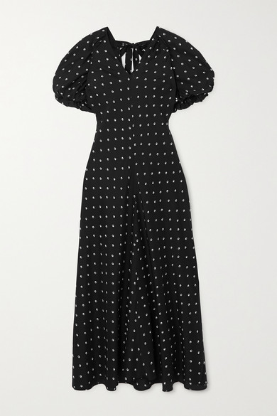 Lee Mathews ROXIE FLORAL-PRINT SILK-SATIN MAXI DRESS