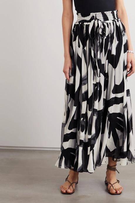 Estelle printed silk-crepon maxi skirt