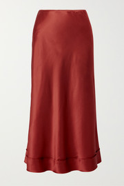 Stella silk-satin midi skirt