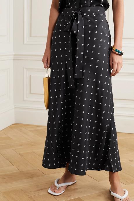 Roxie floral-print silk-satin maxi skirt