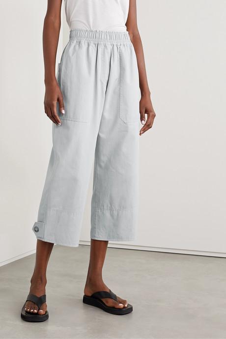 + NET SUSTAIN cropped organic cotton-drill wide leg pants