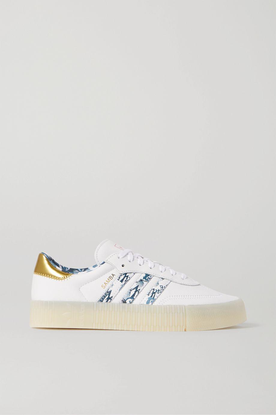 adidas Originals SambaRose printed leather platform sneakers