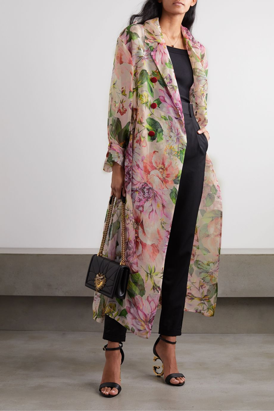 Dolce & Gabbana Floral-print silk-organza trench coat
