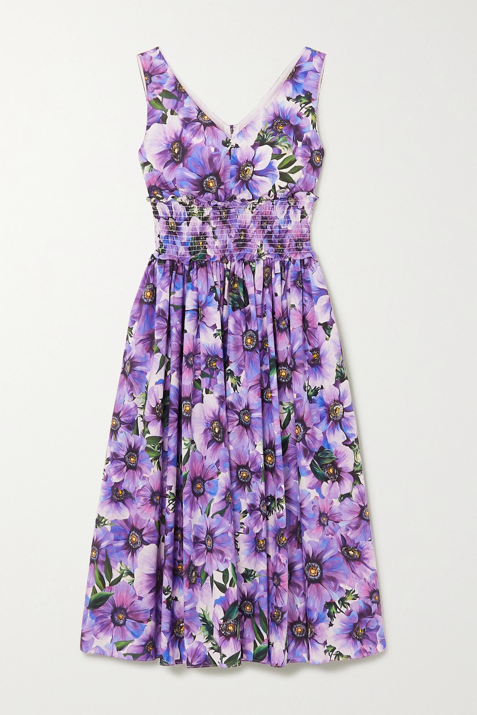 Dolce & Gabbana Shirred floral-print cotton-poplin midi dress