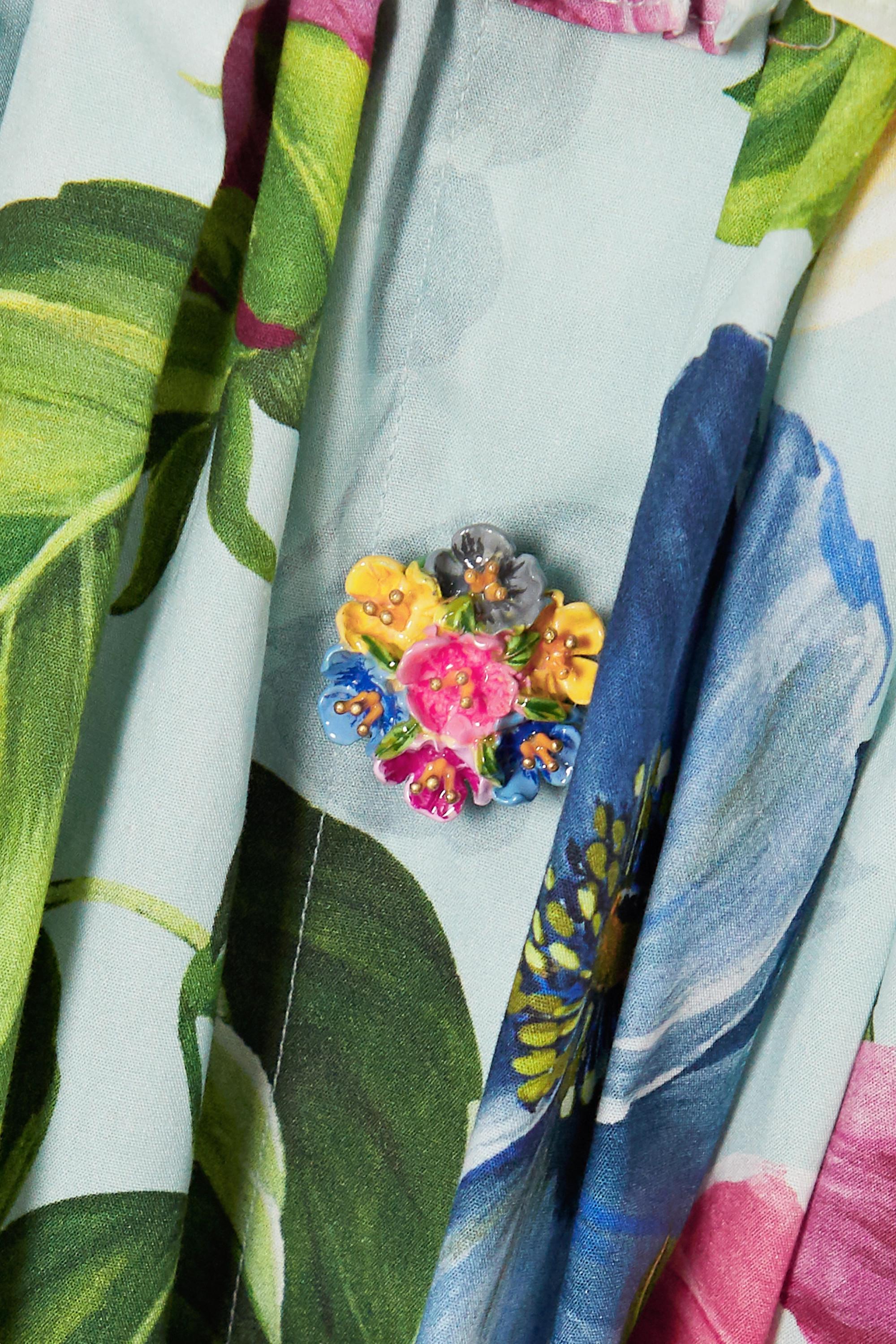 Dolce & Gabbana Ruffled shirred floral-print cotton-poplin mini dress