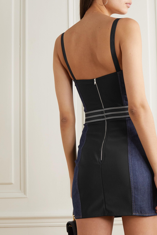 Dolce & Gabbana Paneled denim bustier mini dress