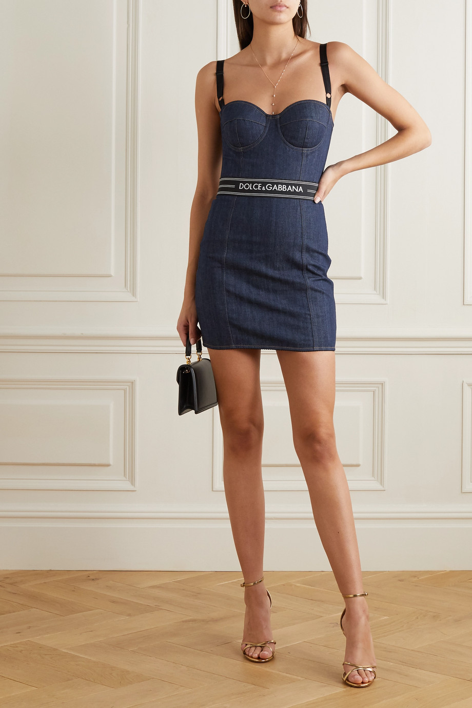 Dolce & Gabbana Paneled denim bustier mini dress