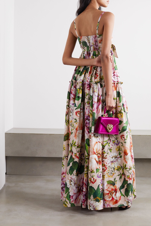 Dolce & Gabbana Tie-front tiered floral-print cotton-poplin maxi dress