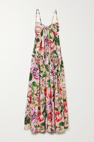 Dolce & Gabbana Tie-front Tiered Floral-print Cotton-poplin Maxi Dress In Pink