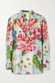 Oversized double-breasted floral-print silk-satin blazer