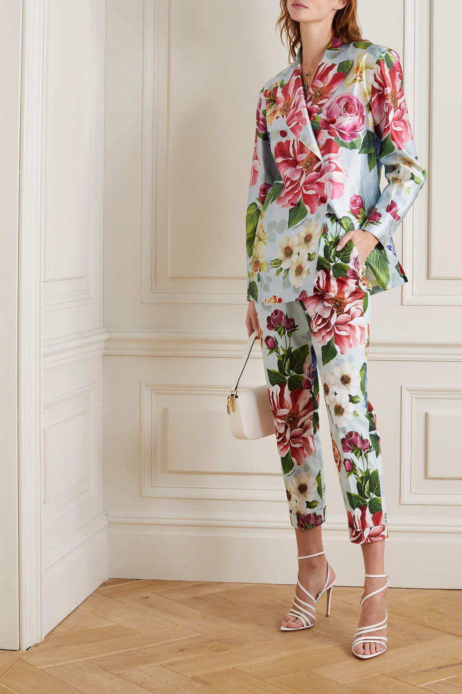 Dolce & Gabbana Oversized double-breasted floral-print silk-satin blazer
