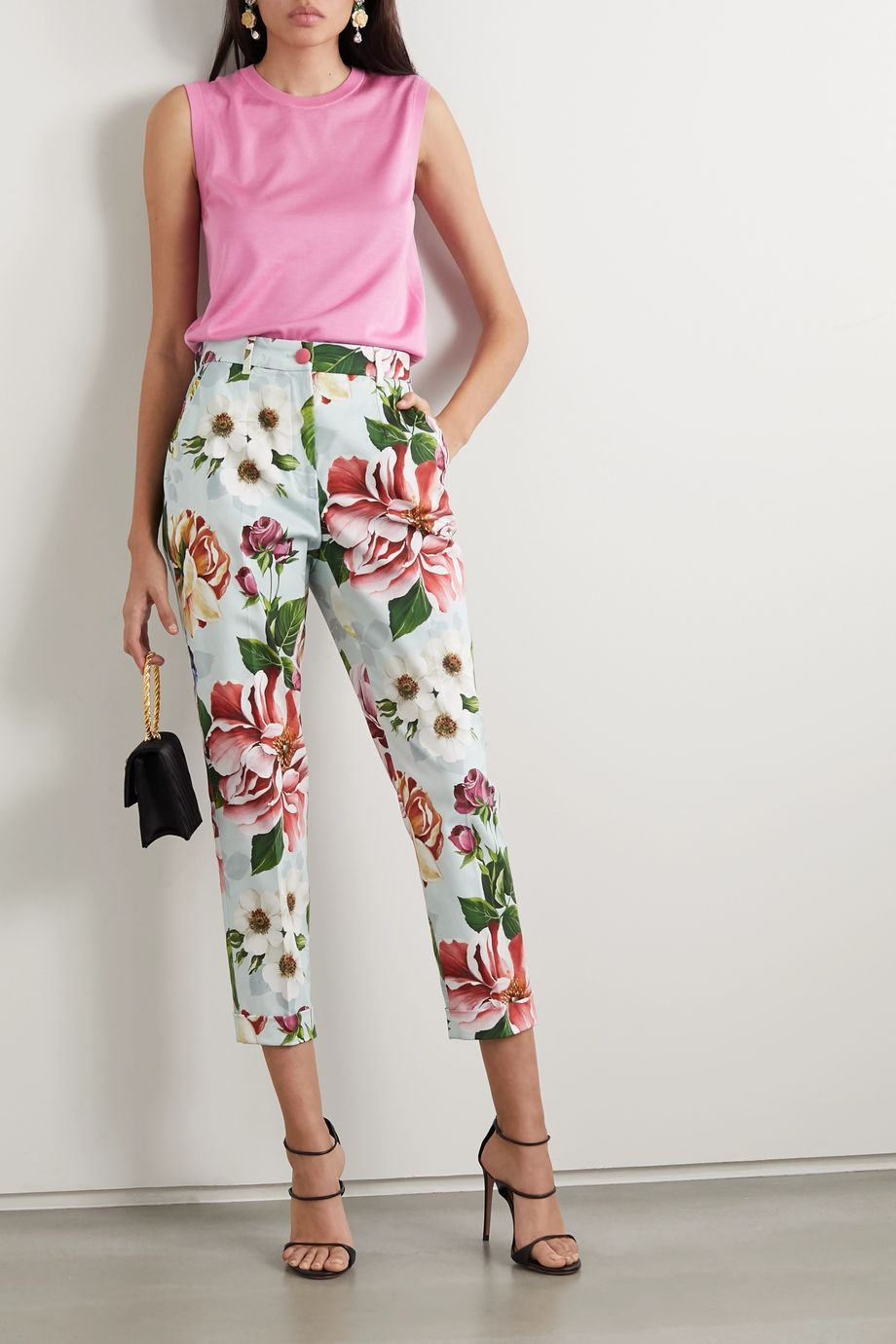 Dolce & Gabbana Cropped floral-print cotton-blend twill slim-leg pants