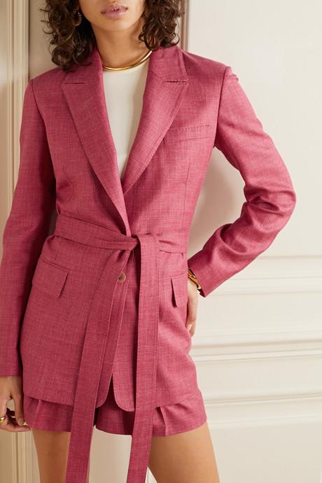 Oscar belted mélange wool, silk and linen-blend blazer