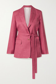 Oscar belted mélange wool, silk and linen-blend blazer