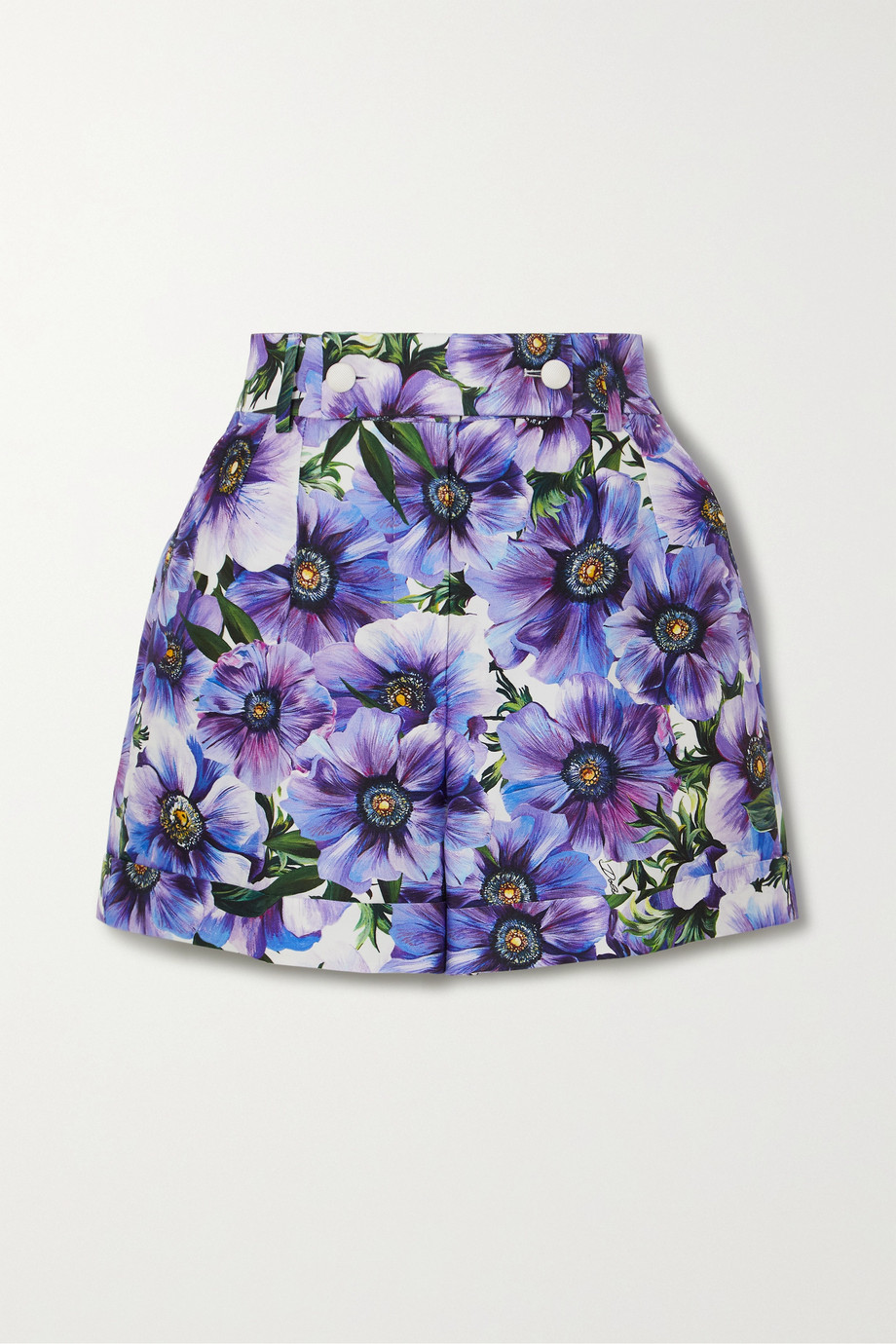 Dolce & Gabbana Floral-print cotton and silk-blend twill shorts
