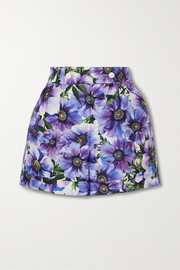 Floral-print cotton and silk-blend twill shorts