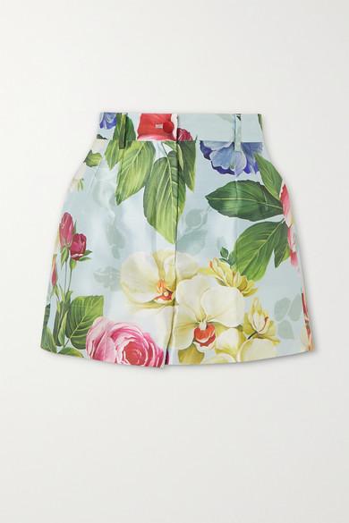 Dolce & Gabbana High Waist Shantung Flower Print Shorts In Blue