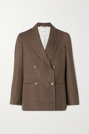 Double-breasted mélange wool, silk and linen-blend blazer