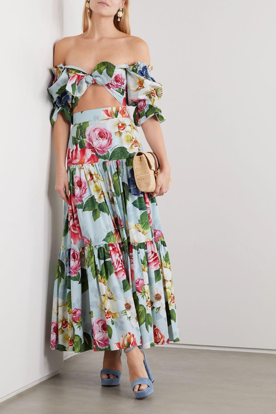 Dolce & Gabbana Tiered floral-print cotton-poplin maxi skirt