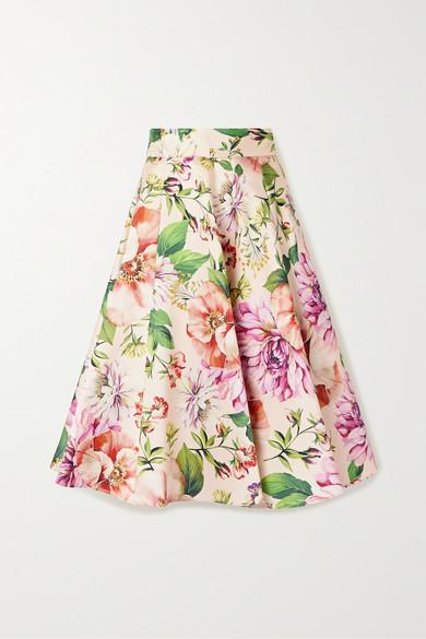Dolce & Gabbana Pleated Floral-print Silk-faille Midi Skirt In Pink