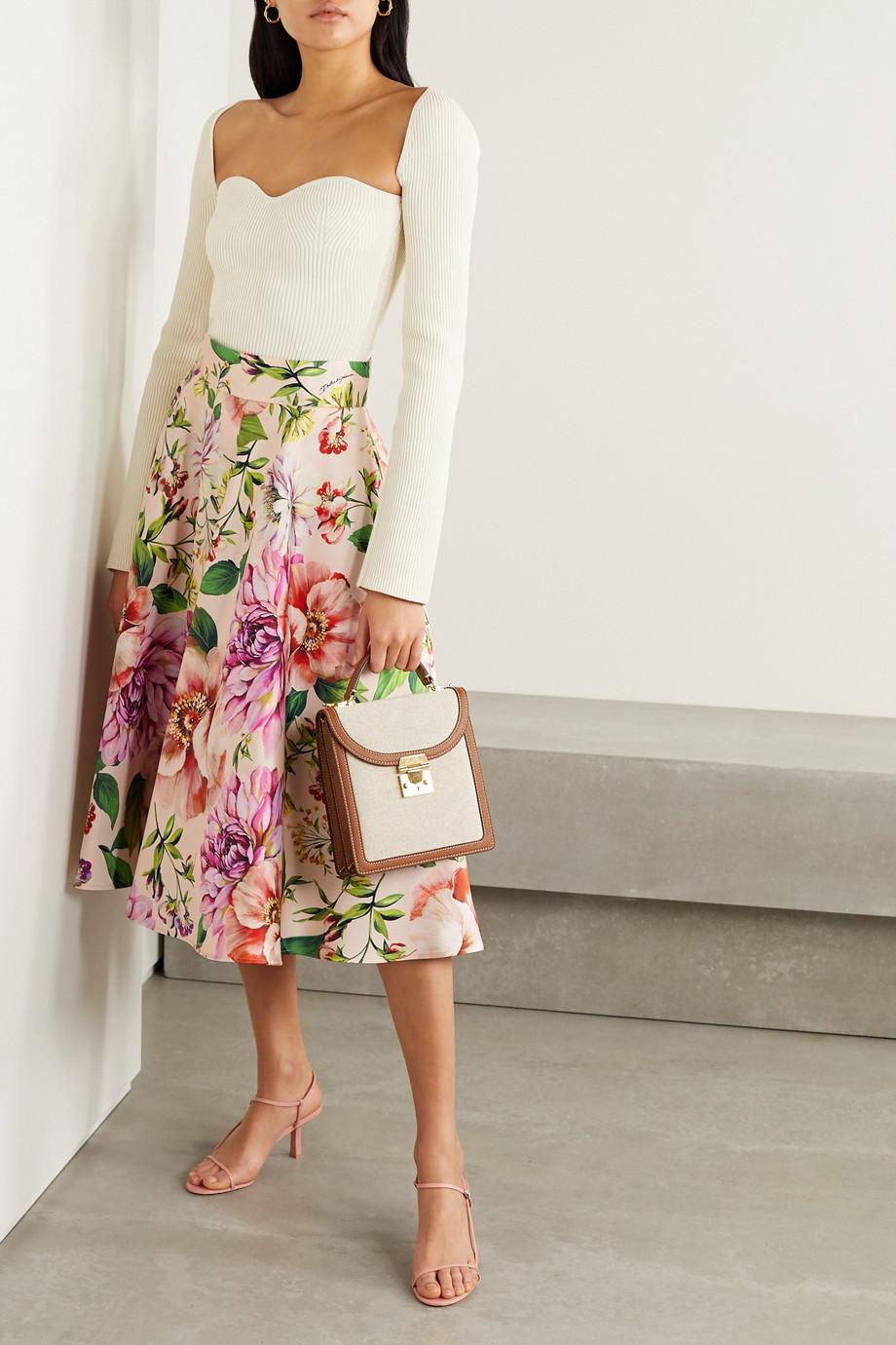Dolce & Gabbana Pleated floral-print silk-faille midi skirt