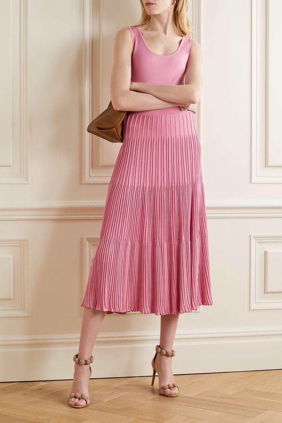 CASASOLA + NET SUSTAIN ribbed-knit midi skirt