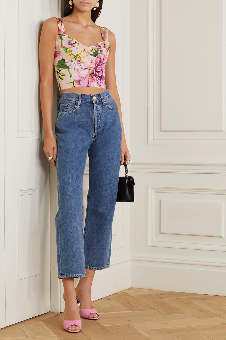 Dolce & Gabbana Floral-print silk-blend bustier top