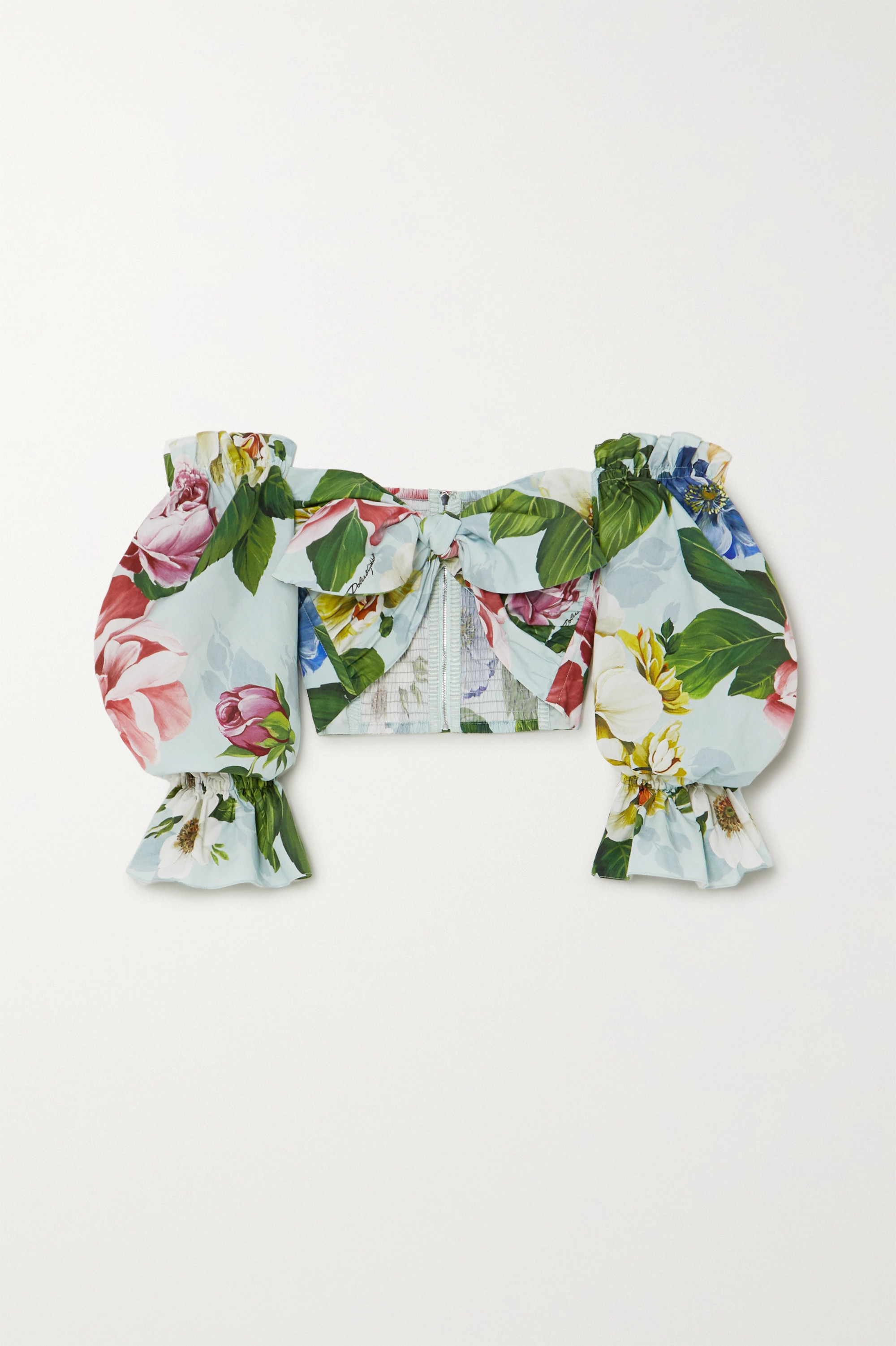 Dolce & Gabbana Cropped off-the-shoulder floral-print cotton-poplin top