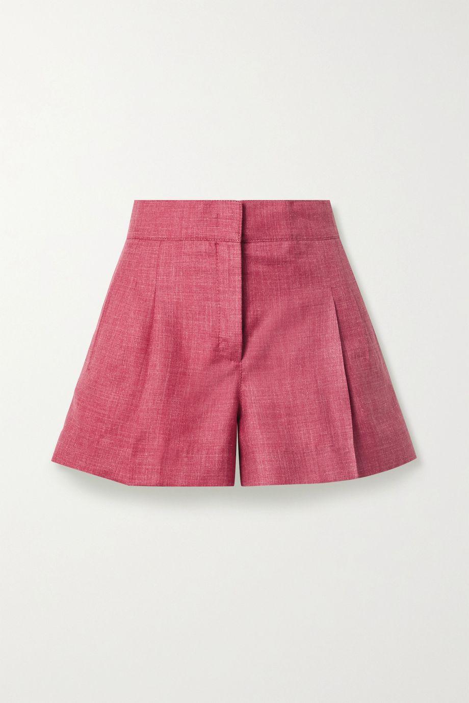 CASASOLA 【NET SUSTAIN】褶裥混色有机羊毛真丝亚麻混纺短裤