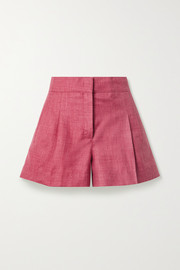 Pleated mélange wool, silk and linen-blend shorts