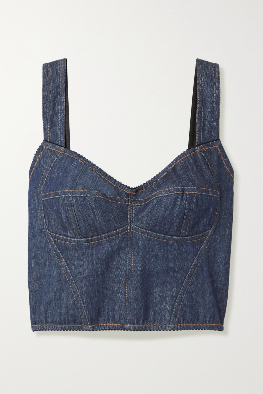 Dolce & Gabbana Stretch-denim and mesh bustier top