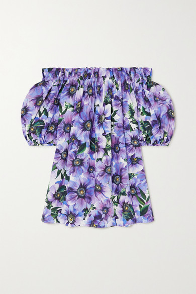 Dolce & Gabbana Off-the-shoulder Floral-print Cotton-poplin Top In Purple