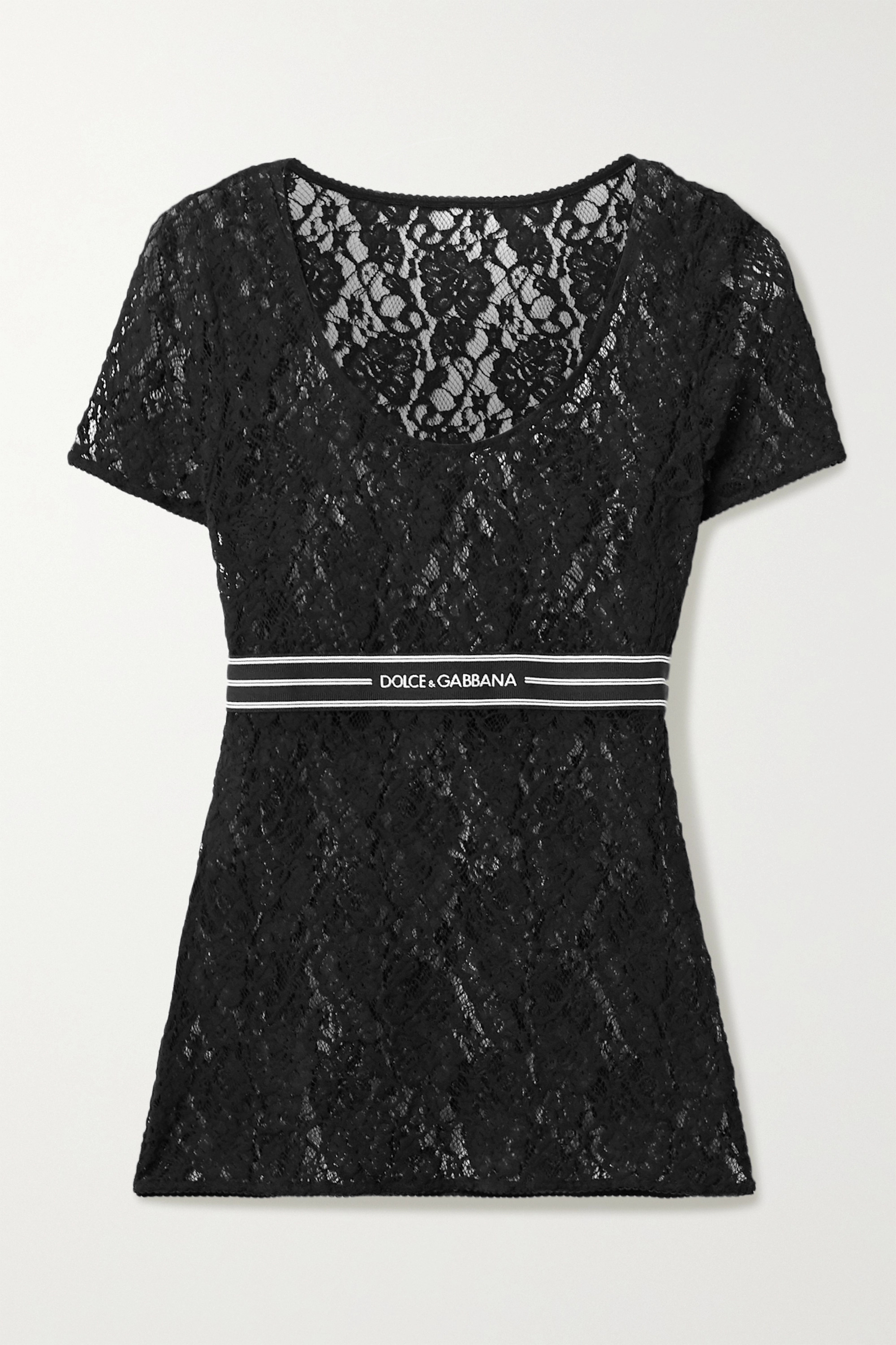Dolce & Gabbana Jacquard-trimmed lace top